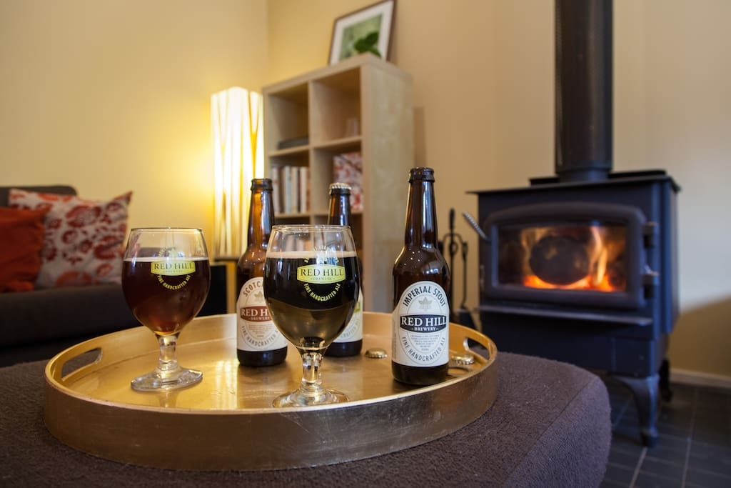 Cosy open fire and Red Hill beers in your fridge