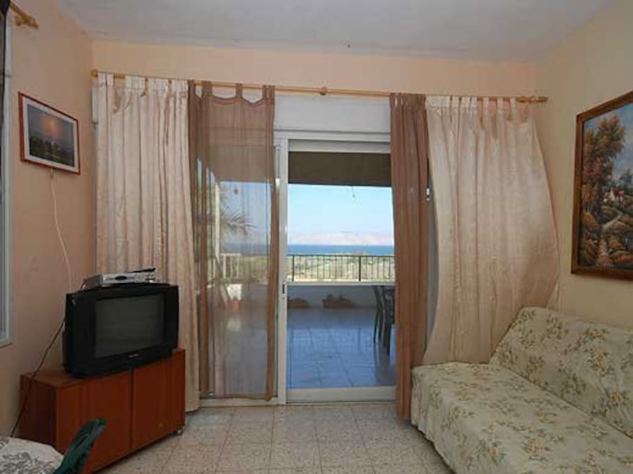 Living room with a view of the Sea of Galilee