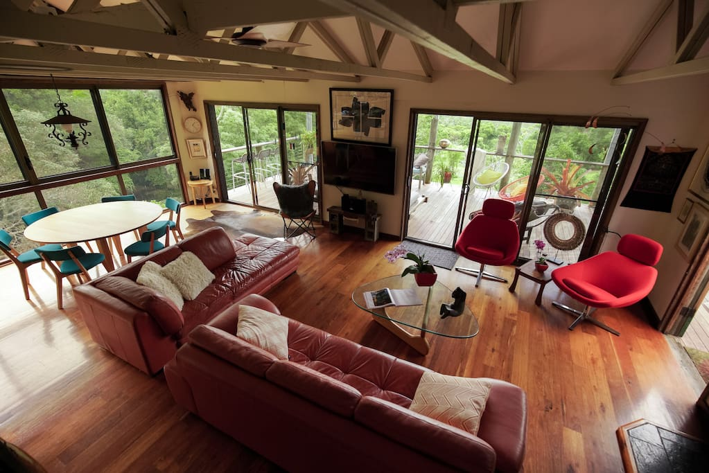 A stylish eco-home overlooking your own rainforest - dining/living area is separate from bedroom wing