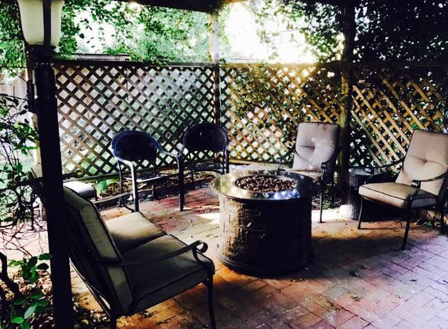 Lighted arbor with gas fire-pit!