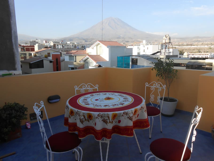 Private outdoor dining room with amazing view of volcano Misti