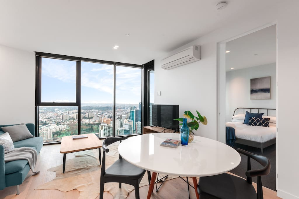 Living room with stunning view from 65th level