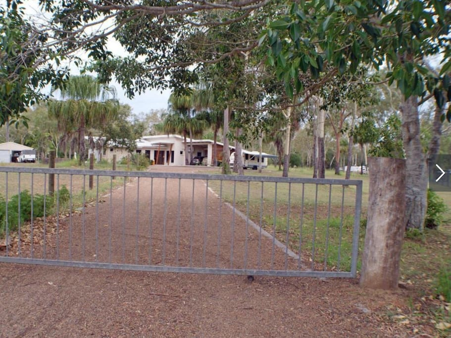 Gated driveway to property