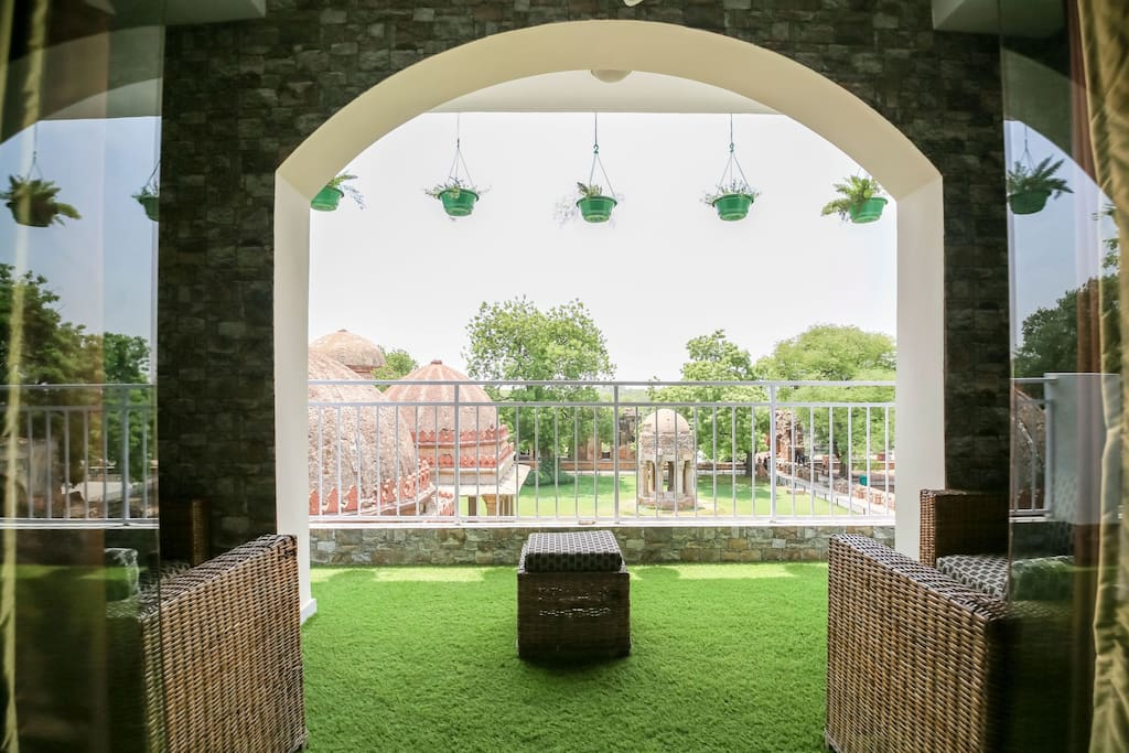 Garden balcony gives a splendid fort view