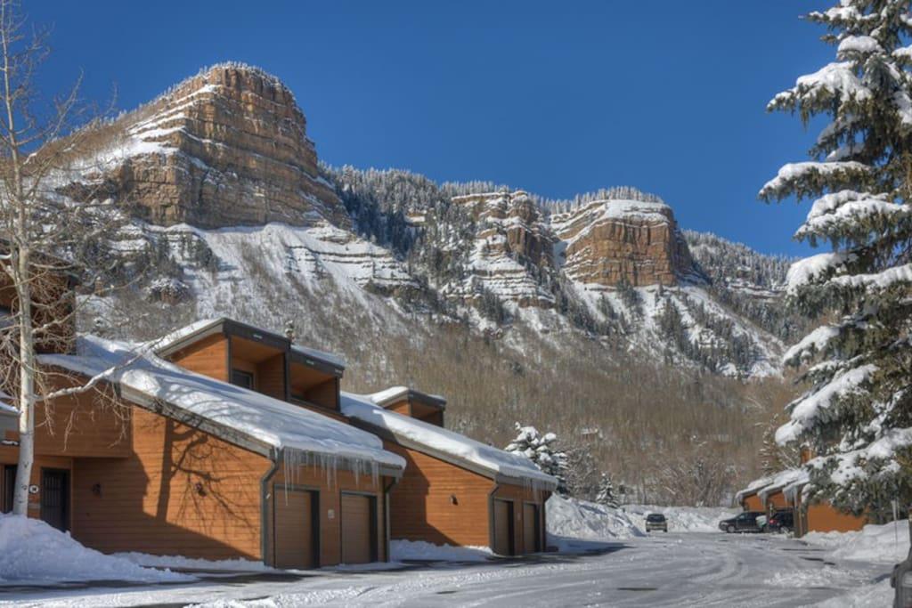 Winter view at Durango vacation rental condo near Purgatory Resort