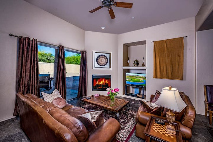 Resort-style, custom home w/ flagstone patio, gas grill, pool, pool spa, firepit