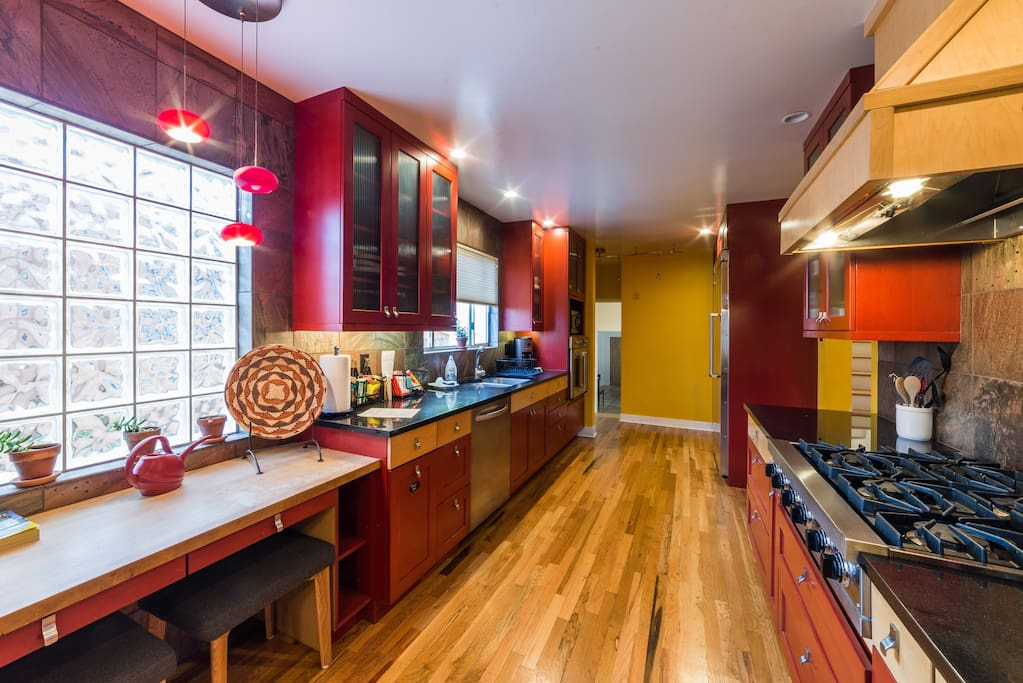 The gourmet kitchen, with Viking appliances is the star of the show! Stocked with dishes, cook/bake ware, utensils, etc.