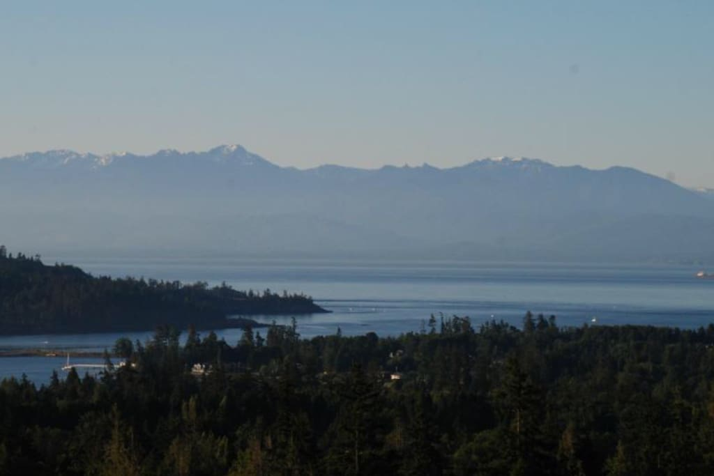 This is the view... Olympic Mountains, East Sooke and the Whiffin Spit