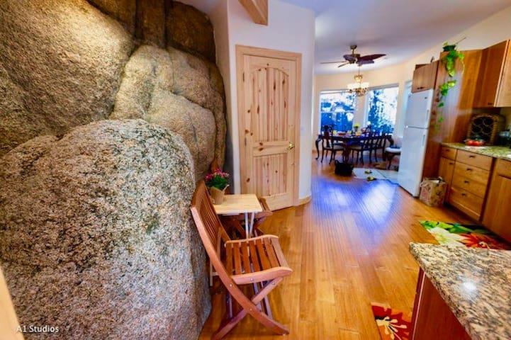 Rock climbing is an option inside the kitchen!