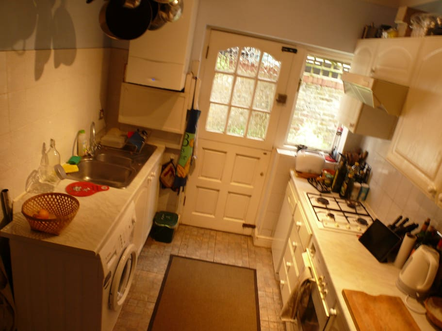 Kitchen with garden door