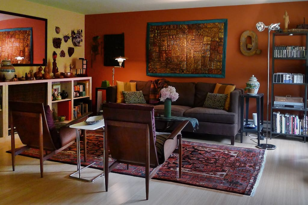 Living Room — comfy and lots of art