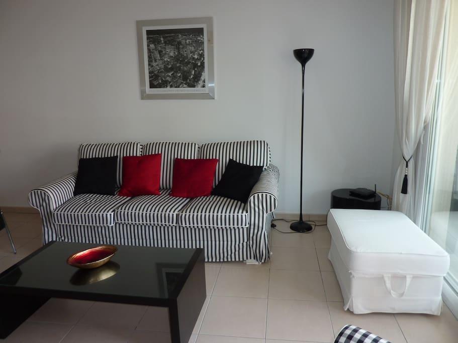 Salon, canapé lit, télé, Internet