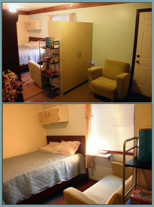 Rm.1. King Bed, sunny, books, couch, reading area, fridge, separate entrance