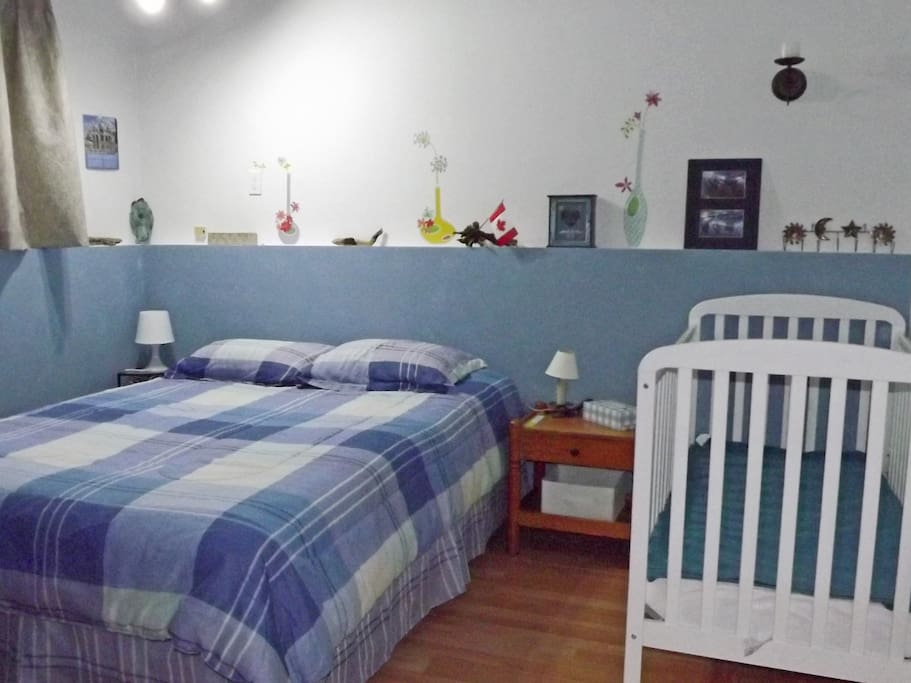 The Blue Bedroom with crib.