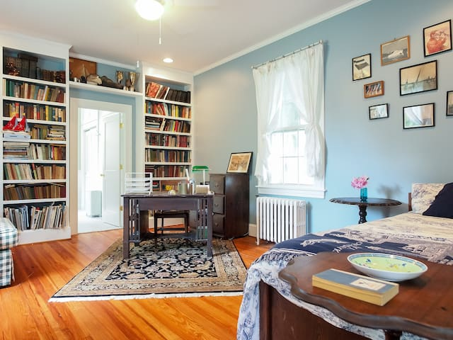 Library on the ground floor sleeps 2. The daybed can be converted into a king or separate twins