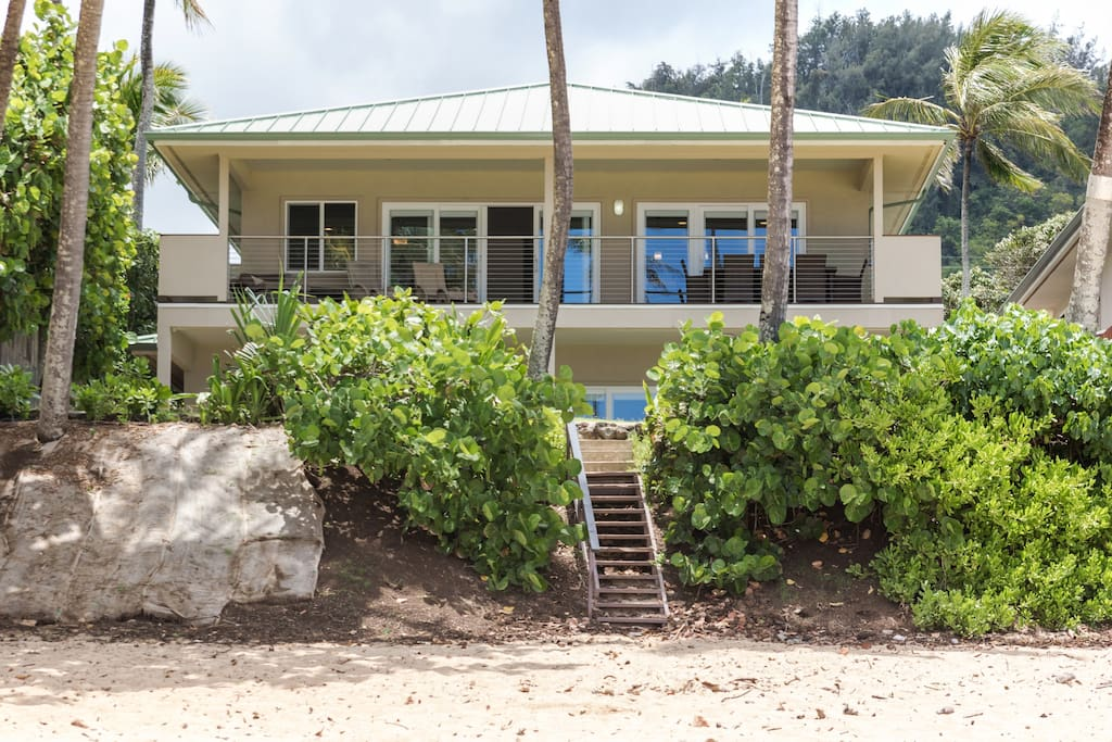Your house viewed from the beach with direct private access from the backyard!