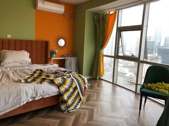 新街口/夫子庙/超高层180度落地窗全景正对新街口商圈南京正中心