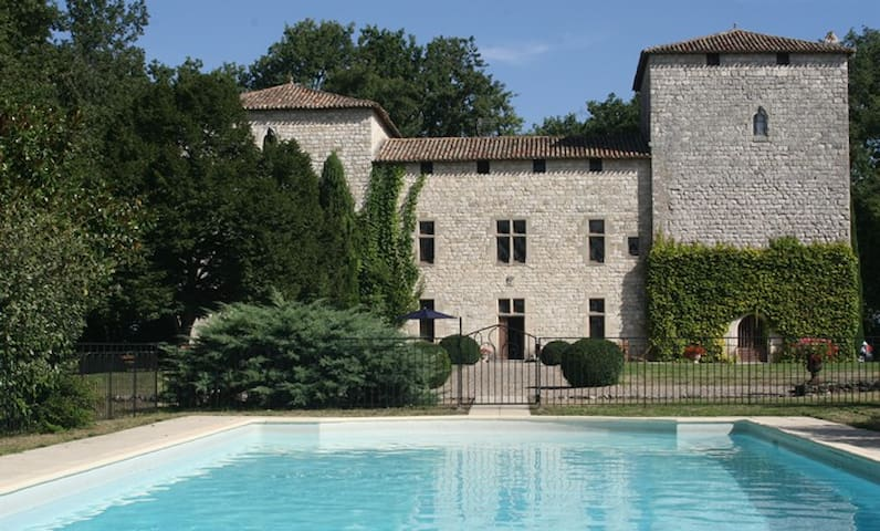View from pool house to chateau