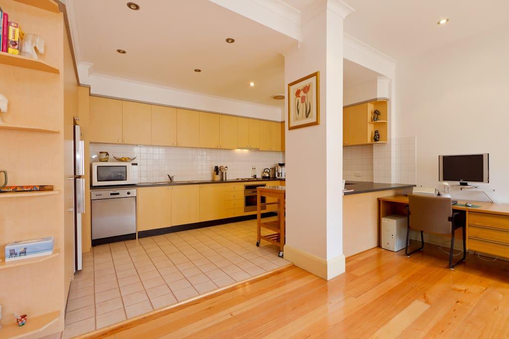 HUGE Kitchen with plenty of bench space, all appliances, dishwasher, crockery, cutlery, glassware etc.