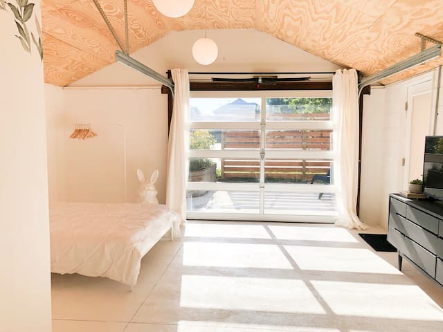 Sliding glass door offer protection, insulation and stunning sunset views. Nothing like it!