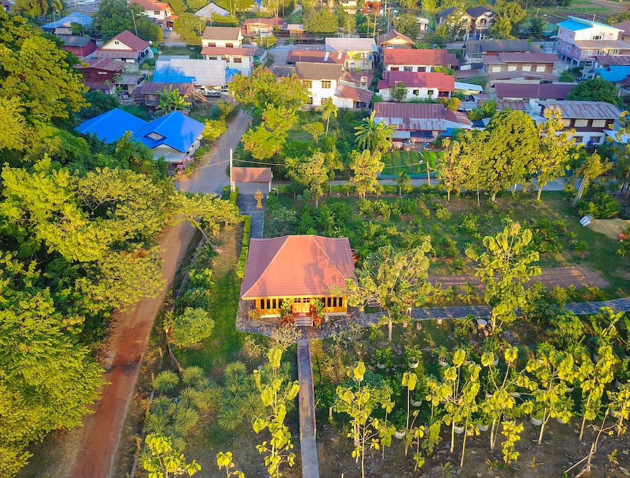 QAerial view of the house in the small village