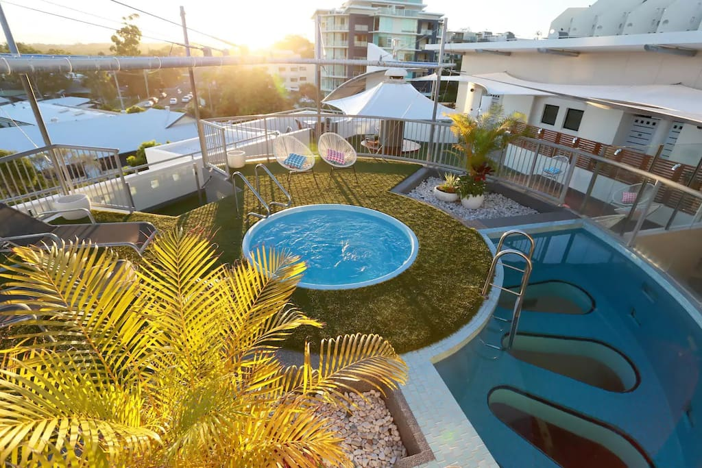 Rooftop - Spa, Magnesium Glass Bottom Plunge Pool and BBQ facilities with a view over the Sunshine Coast Hinterland