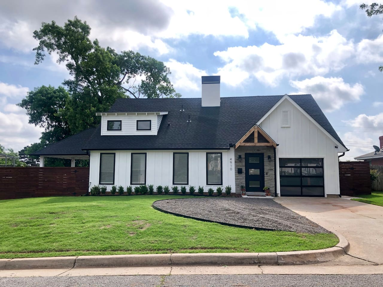 Beautiful modern farmhouse with ample parking.