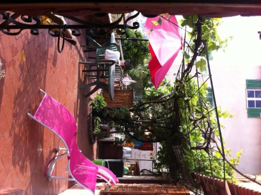 Une terrasse avec jolie vue, bar, salon de jardin... et vigne!