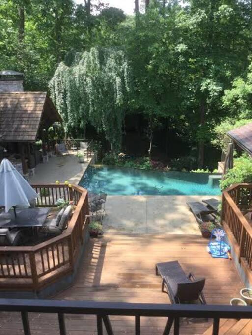Infinity edge pool and cabana