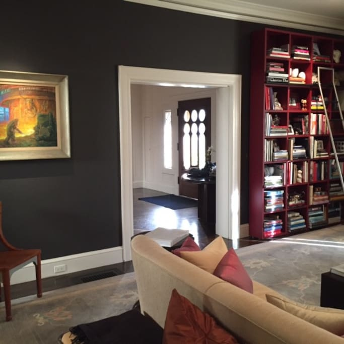 Art and books throughout the lovely rooms.