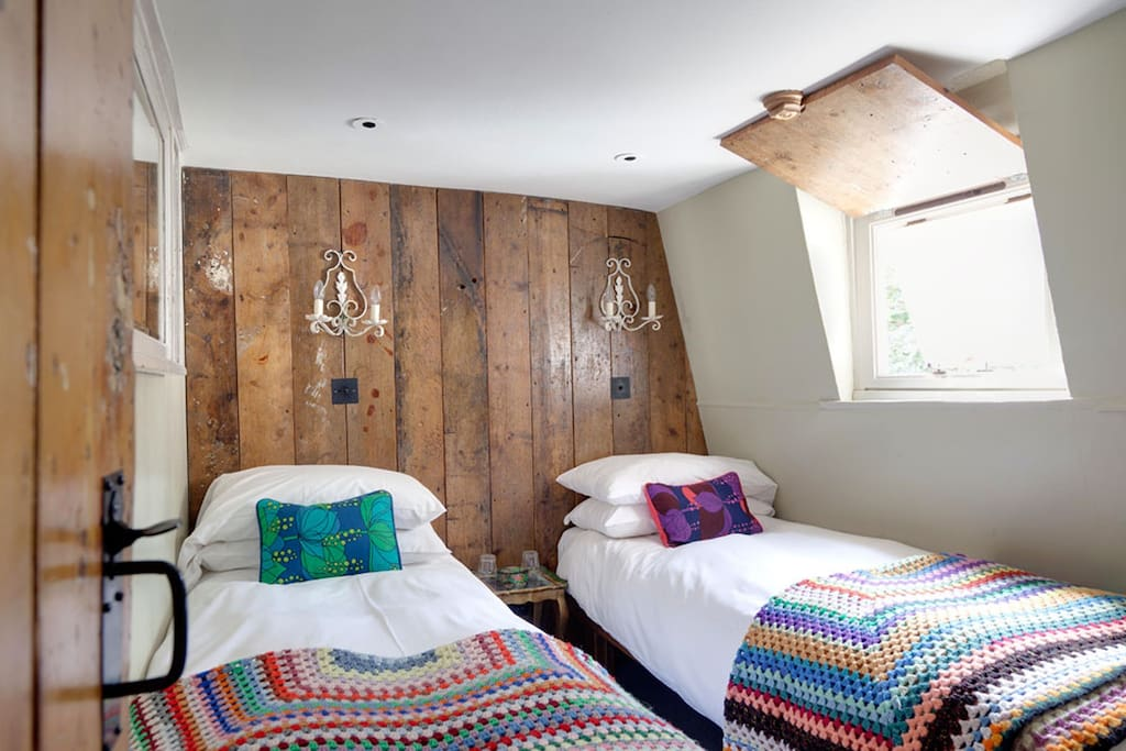 back bedroom with double or twin beds.