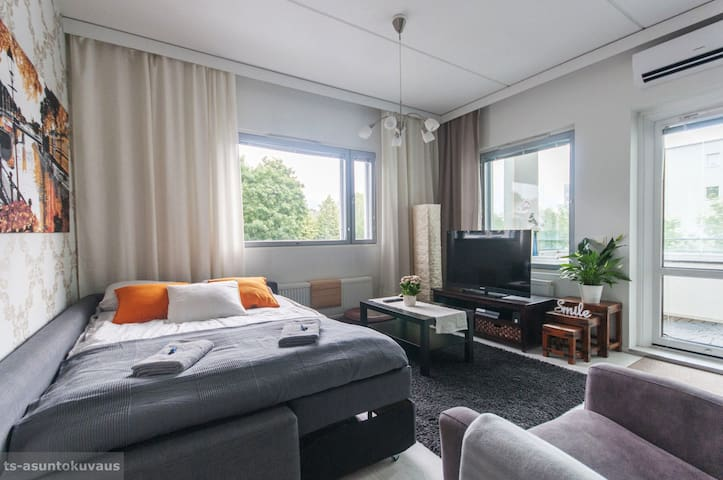 Olohuone, vuodesohva käytössä / Living room with sofa-bed