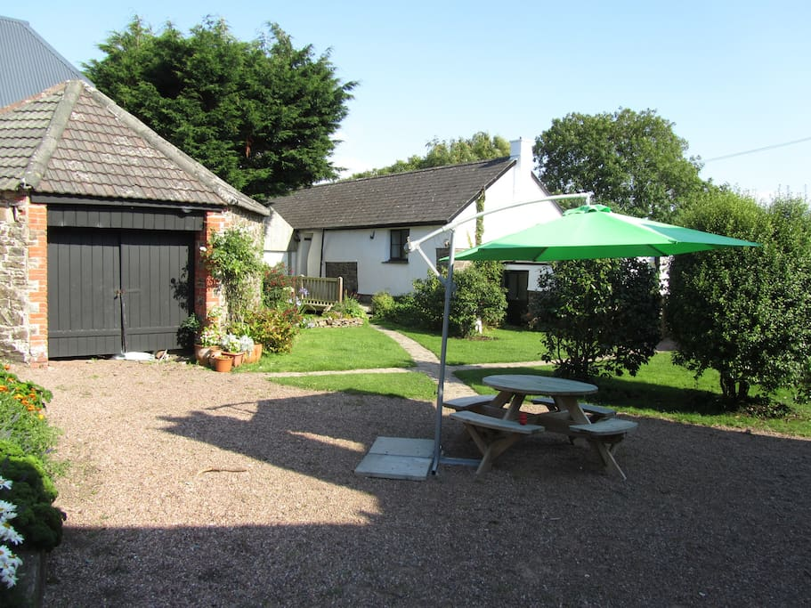 The courtyard and side entrance to the cottage
