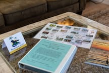 A local map with interesting descriptions, a binder full of local restaurant menus and resources, and a history book of Pine Island is prominently located in the living room.  Each guest receives a personalized welcome note with our contact info.