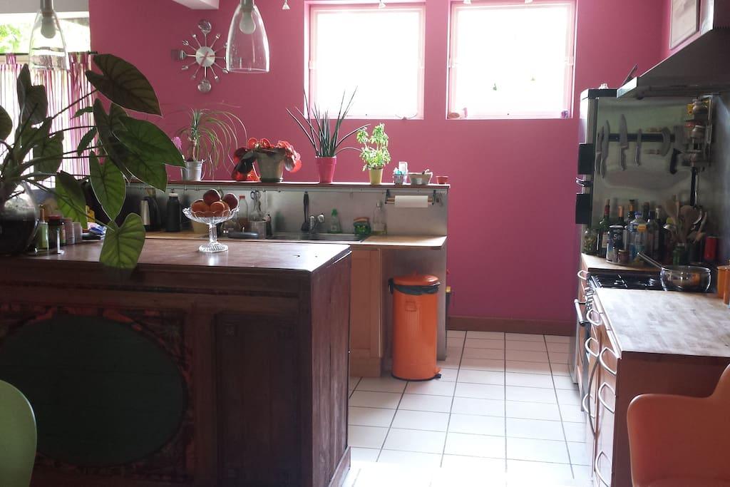 Le coin cuisine dans le loft de 130 m²...