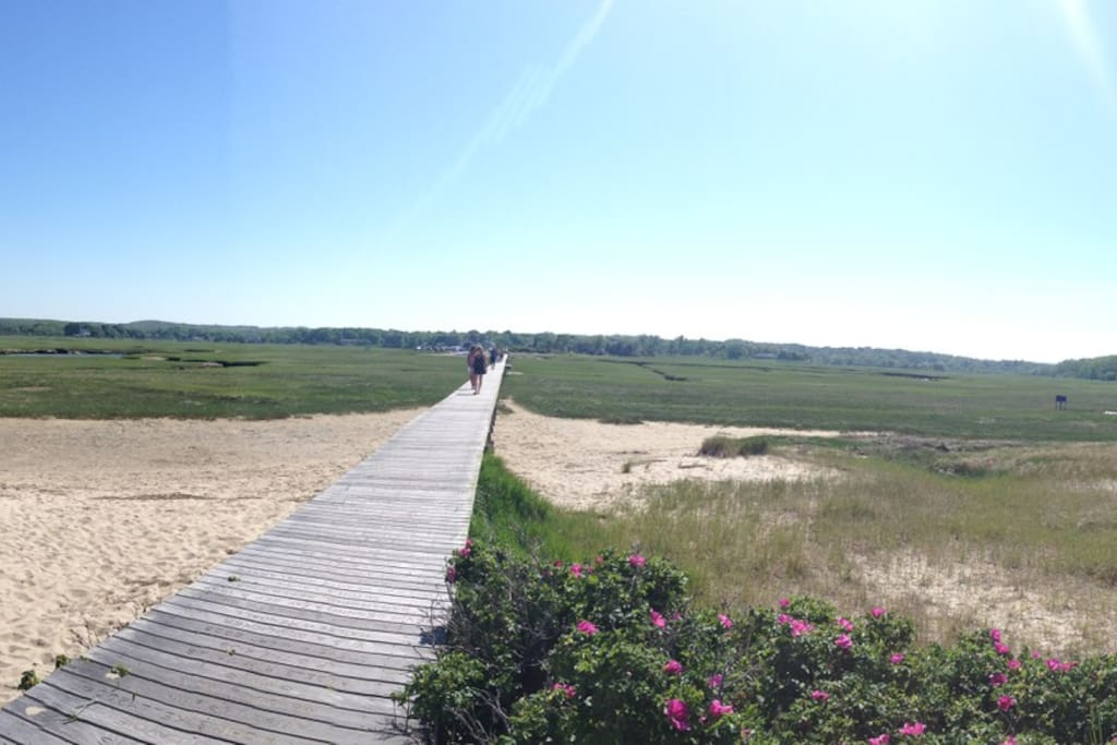 panoramic view of the sandwich board walk to town beach