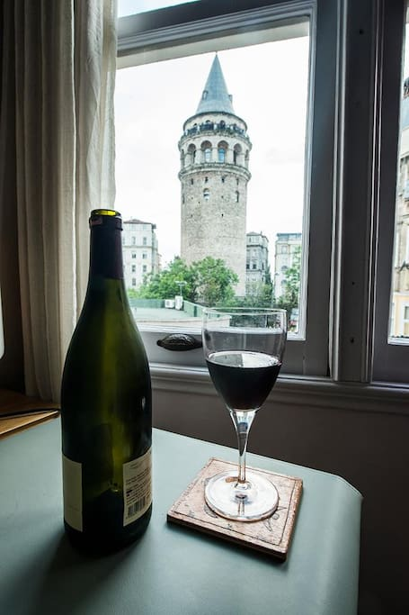 View on the Galata Tower from bureau salon/living room.