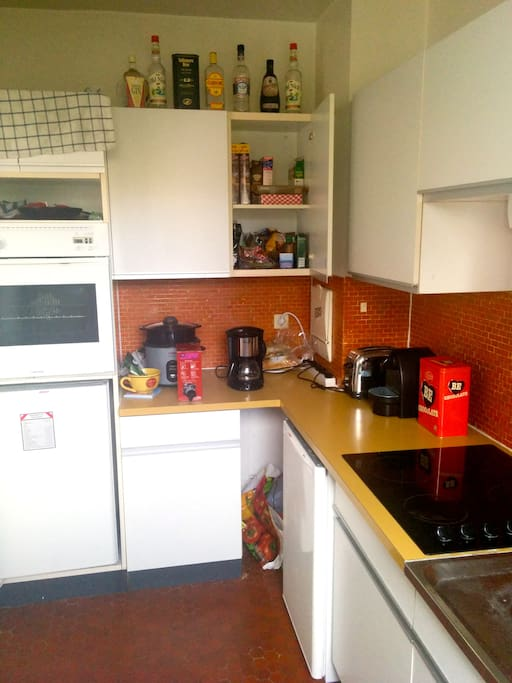 Equipped kitchen with fridge, big freezer, oven, hotplates