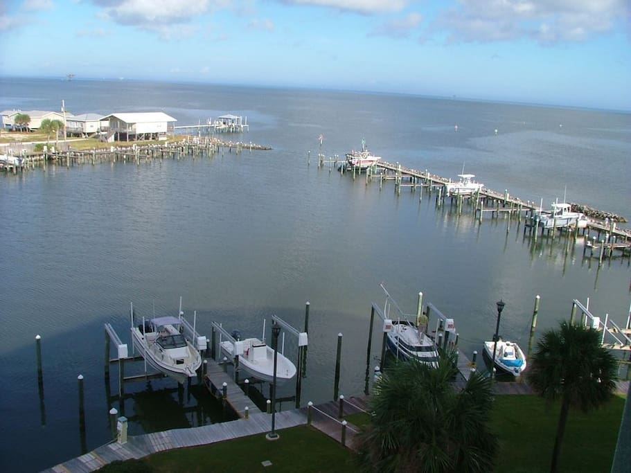 Balcony View overlooking Navy Cove and Mobile Bay!