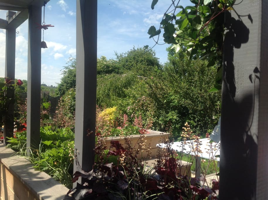 From the pergola onto the deck and garden