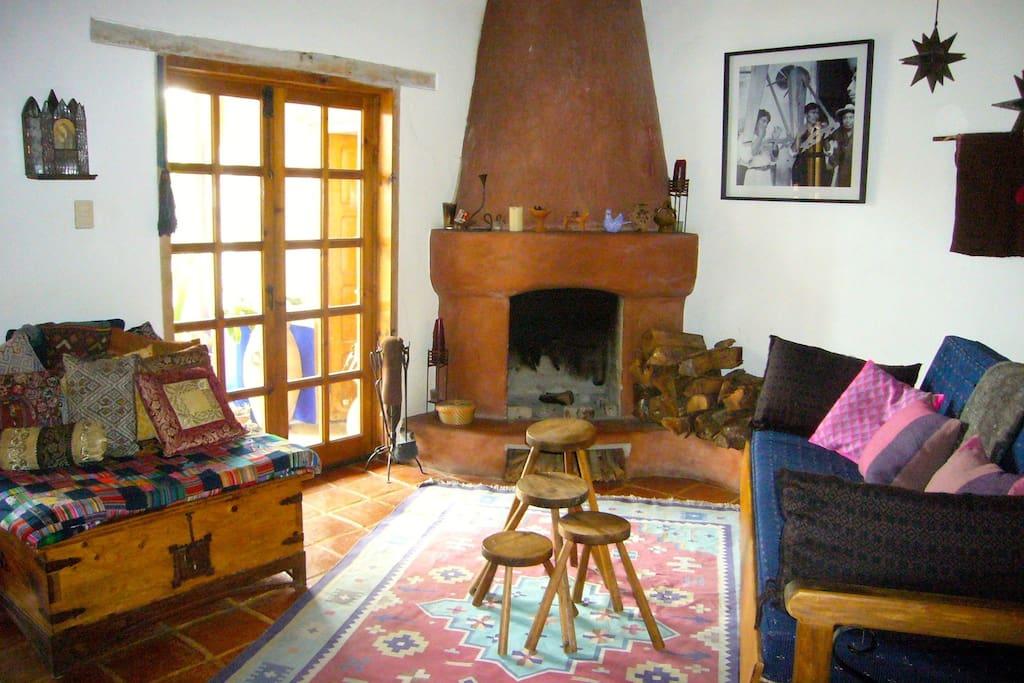 large warm fireplace