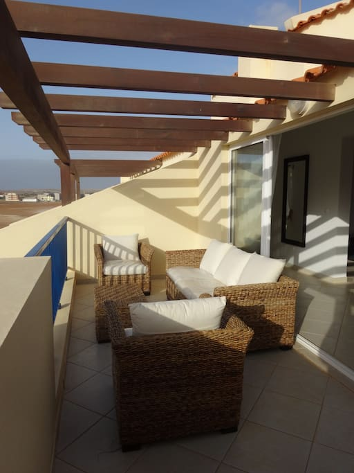 One of the front terraces - relax on our super outdoor furniture