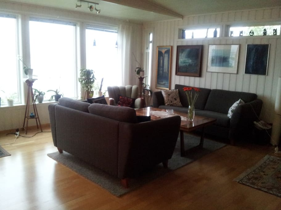 Livingroom With view to the Ocean and island of Senja