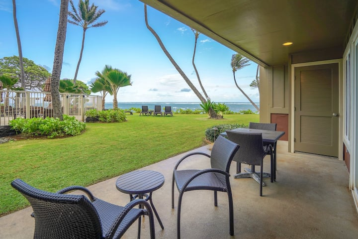 Waterfront condo on ground floor w/ shared pool, ocean views, & beach access