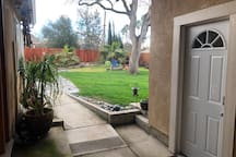 Front door and backyard view