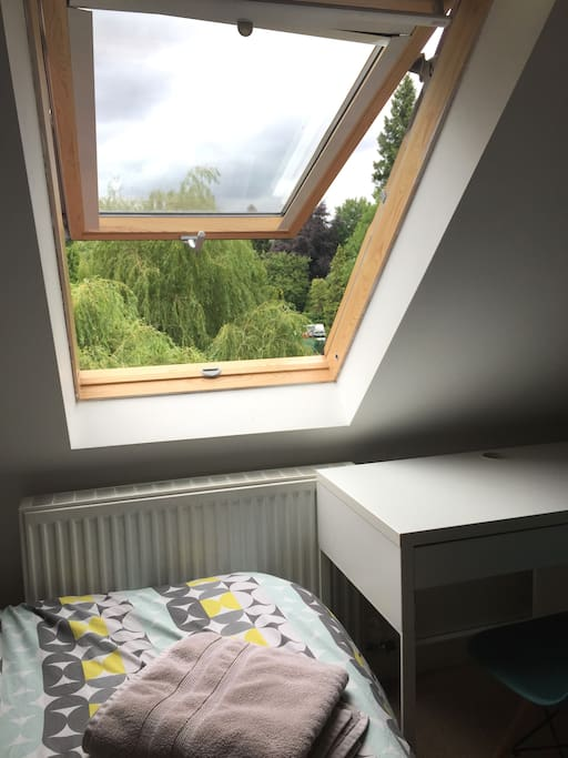 View of the Surrey Hills from the bedroom skylight
