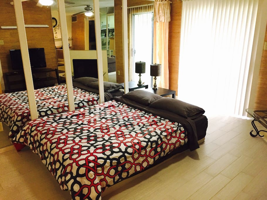 Another queen size bed can be added in living room so that the condo can accommodate 4 people.