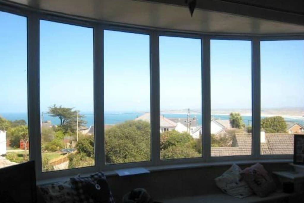 Stunning views of Godrevy Lighthouse from the large bay window