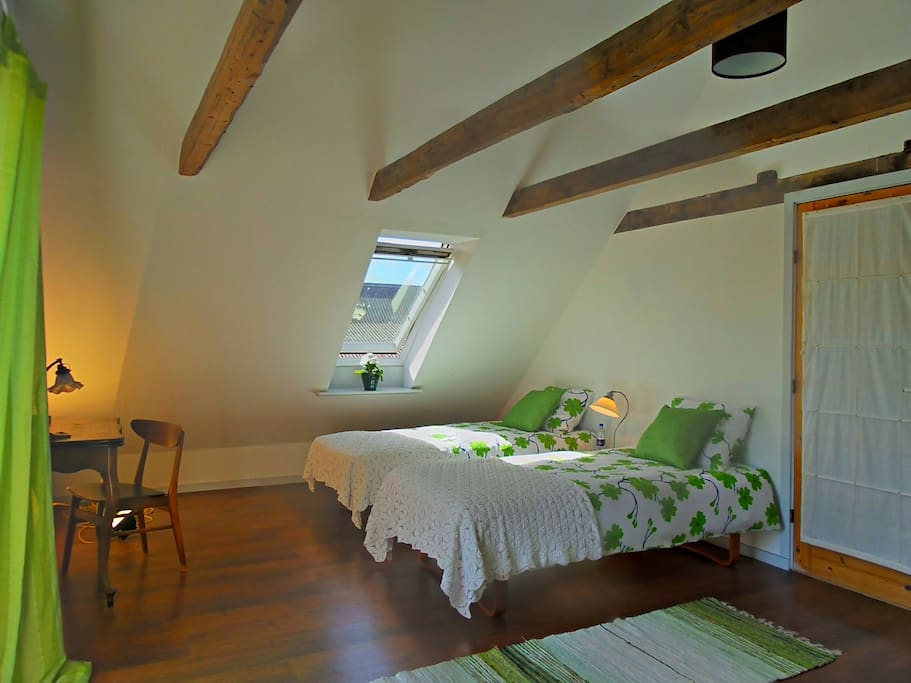 The green room - our huge first floor master bedroom.