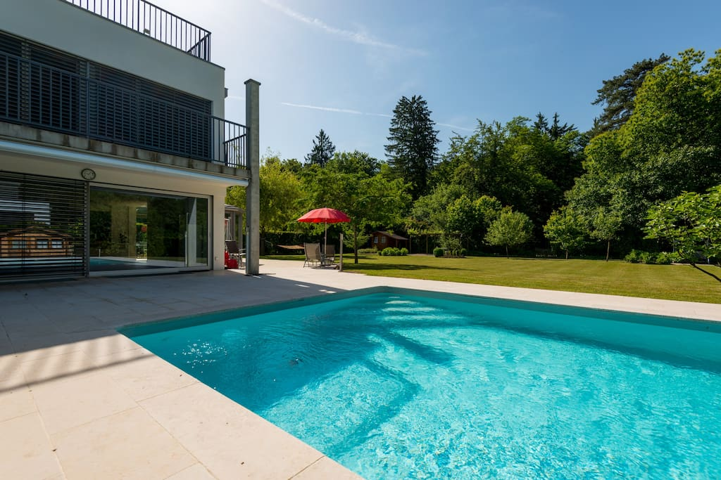 Great big pool, heated, with security cover.